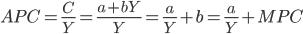 APC = \frac{C}{Y} = \frac{a + bY}{Y} = \frac{a}{Y} + b = \frac{a}{Y} + MPC