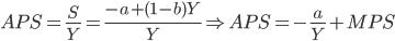 APS = \frac{S}{Y} = \frac{-a + (1 - b)Y}{Y} \Rightarrow APS = - \frac{a}{Y} + MPS