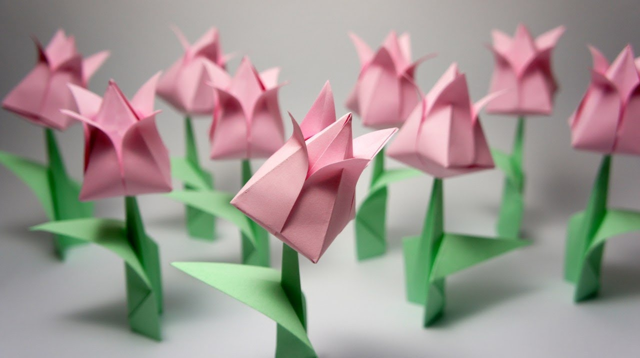 ایده ساخت گل لاله اوریگامی