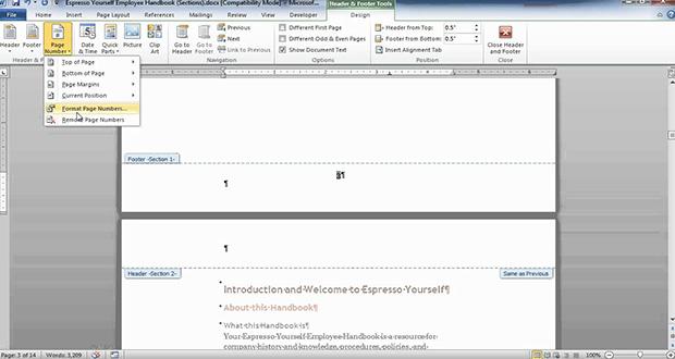 فصل بندی و شماره گذاری متن در یک فایل Word