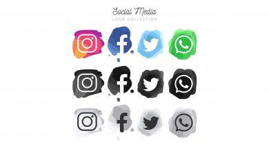طرح آماده آیکون شبکه های اجتماعی به شکل آبرنگ