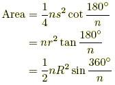 فرمول های محاسبه مساحت n ضلعی منتظم