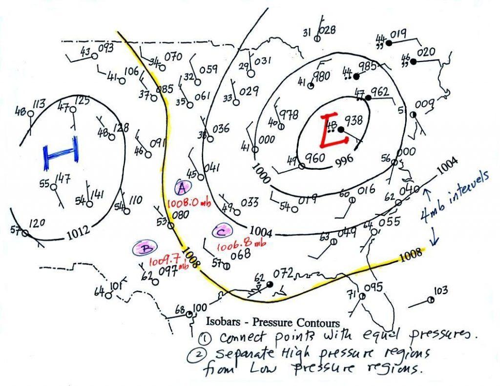 در نقشه های هواشناسی، خطوط ایزوبار یا هم فشار، نشان دهنده فشار جو هستند. چون هر یک از این سیستم های فشار، شرایط آب و هوایی متفاوتی را به وجود می آورند، از این نوع نقشه ها می توان برای پیش بینی وضع هوا استفاده کرد.